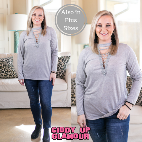 Good Girl Gone Rad Long Sleeve Lace Up Top in Heather Grey