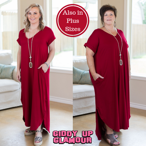 Simple Love Tee Shirt Maxi Dress in Ruby Red