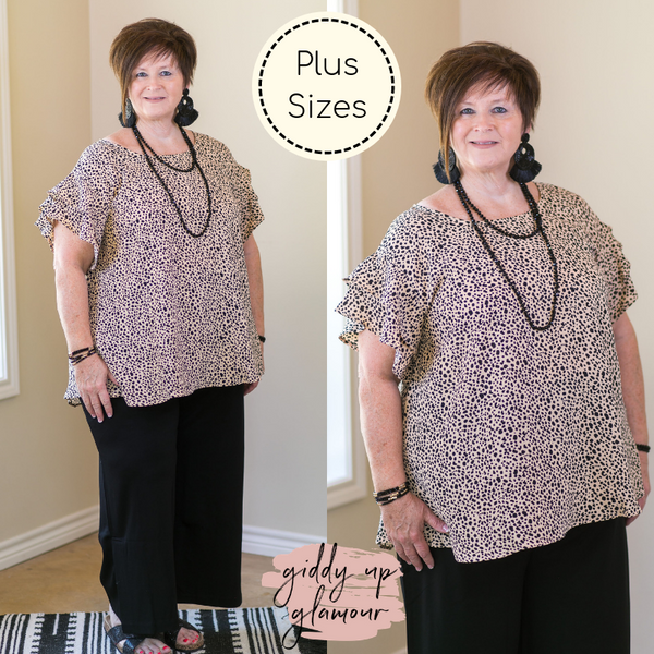 Plus Size | Vivaciously Vogue Ruffle Sleeve Top in Cheetah