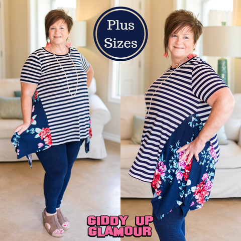 Right This Time Striped Trapeze Top with Floral Sides in Navy Blue