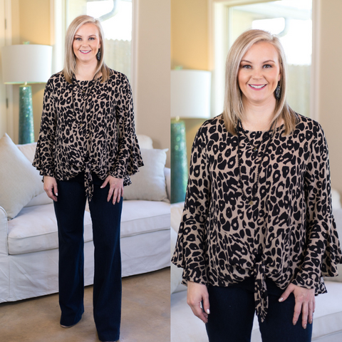 Slaying Everyday Leopard Print Tie Top