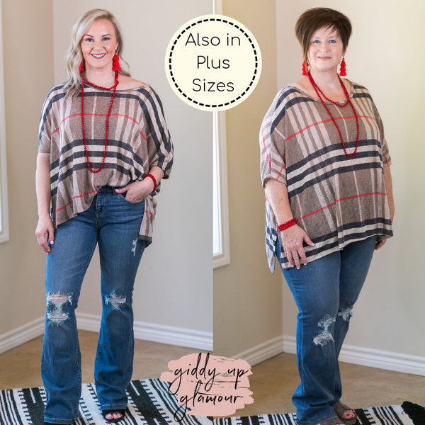 Count Your Blessings Plaid Piko Top in Mocha Tan