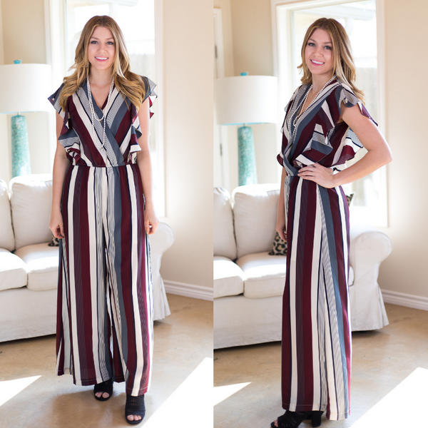 Women's boutique stripe striped stripes jumper jumpsuit romper outfit maroon burgundy ruffle ruffled pantsuit