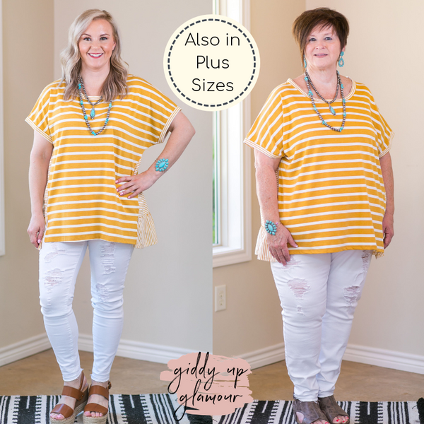 Notice Me Mixed Stripe Short Sleeve Top with Ruffled Hem in Mustard Yellow