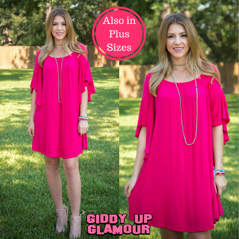 Chic in Pink Off Shoulder Dress in Hot Pink