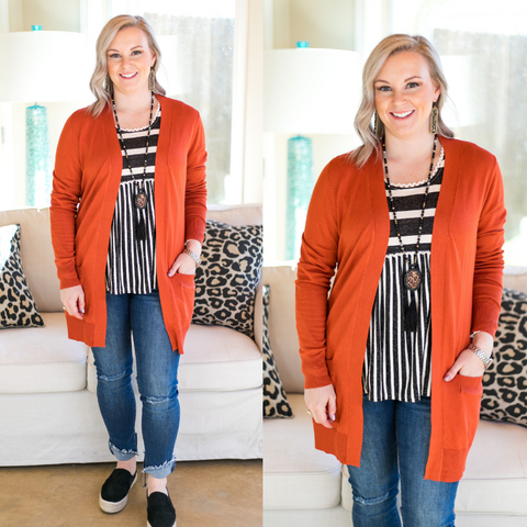 Beat The Chill Basic Knit Cardigan in Rust Orange