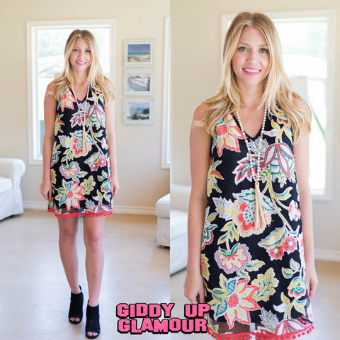 My Side Of Things Floral Printed Pom-Pom Dress in Black