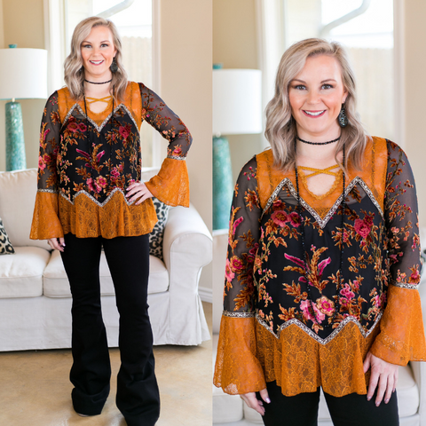 Feeling Fancy Floral Velvet and Lace Top in Rust Orange