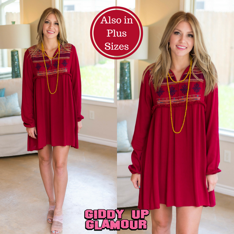 2b8aa71371f47 Heart and Soul Peasant Dress with Embroidery in Maroon ...