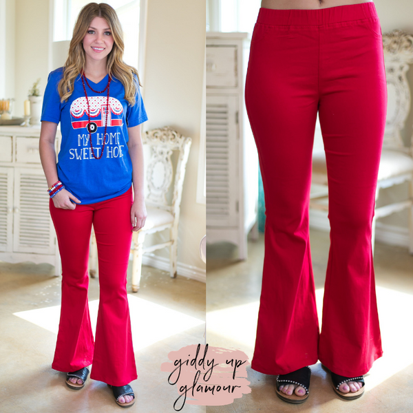 Around Again Flare Bell Bottom Pants with Elastic Waistband in Red