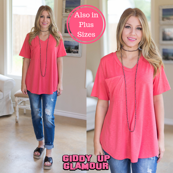 Just Right Short Sleeve Pocket Tee in Coral