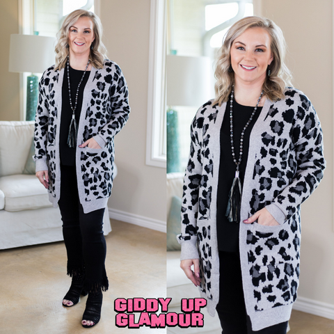 Confess Your Love Leopard Print Cardigan in Grey