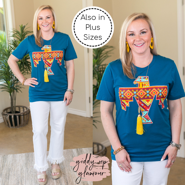 Keep Her Wild Aztec Thunderbird Graphic Short Sleeve Tee Shirt in Teal Blue