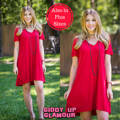 True Charmer Tee Shirt Dress in Red