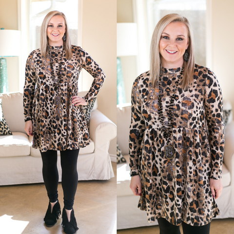 Every Wild Heart Babydoll Tunic in Leopard