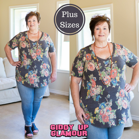 Something About This Floral Short Sleeve Top in Dark Grey