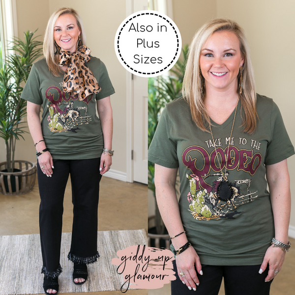 Take Me To The Rodeo Vintage Western Short Sleeve Tee Shirt in Olive Green