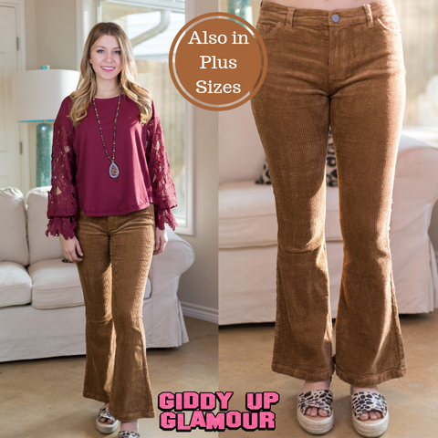 Past and Present Corduroy Flare Pants in Tan