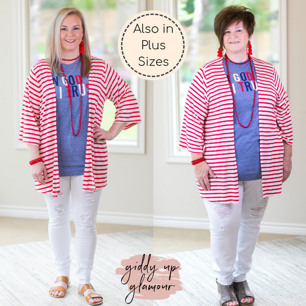 Living For It Stripe Cardigan with 3/4 Sleeves in Red