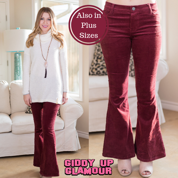 women's plus size boutique maroon burgundy corduroy flare leg pants jeans outfit groovy hippie vintage bell bottoms