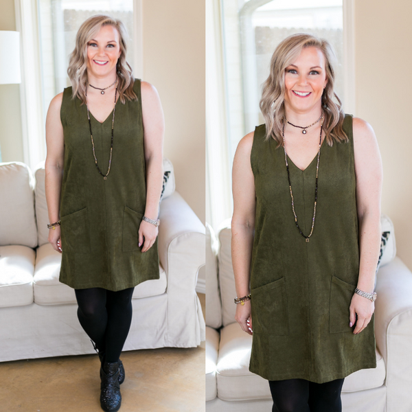 Not Worried Corduroy Dress with Pockets in Olive Green
