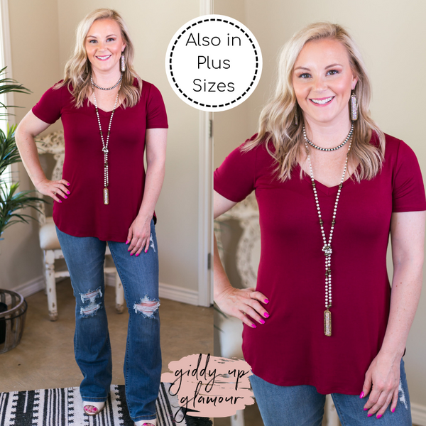 A.Gain solid simply the best Missy Curvy Plus Sizes Full Figured Fashion Plus Size boutique clothing shirt top blouse affordable short sleeve V neck vneck basic solid tee shirt tshirt maroon crimson