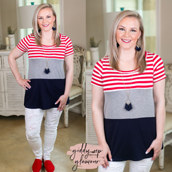 Reach For The Stars Patriotic Color Block Short Sleeve Top USA 4th of July fashion red white blue