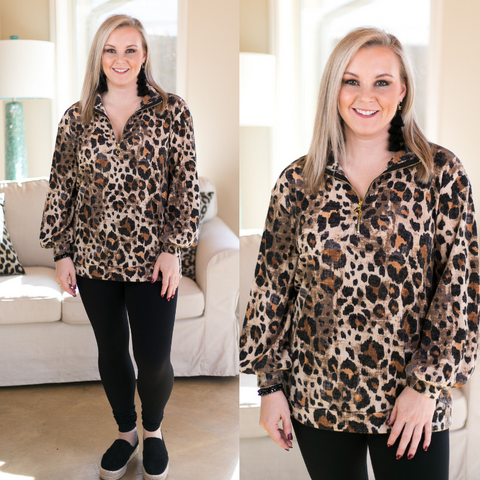 Pounce On It Quarter Zip Pullover in Leopard