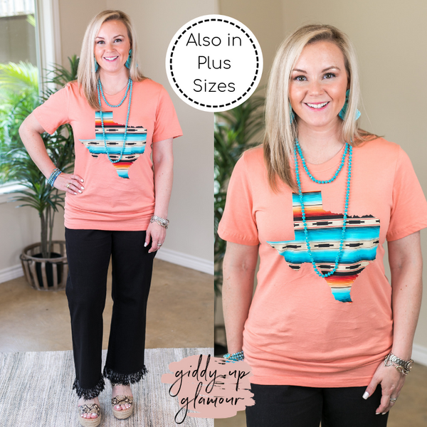 Queen of the South Serape Print Texas Short Sleeve Tee Shirt in Sunset Coral