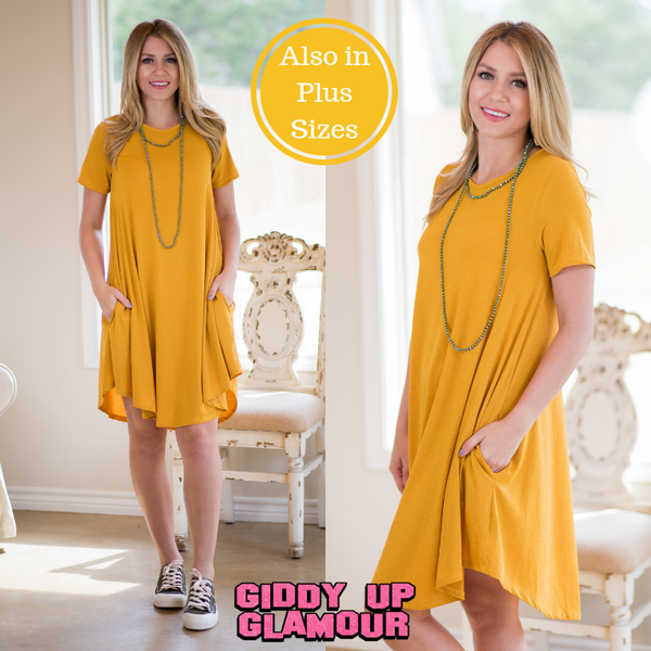 56ca572586 Simplicity is Key Short Sleeve Tee Shirt Dress in Mustard Yellow – Giddy Up  Glamour Boutique