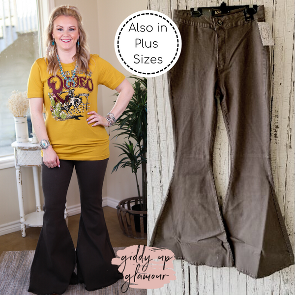 L&B | Here's The Deal Super Flare High Rise Bell Bottom Jeans in Olive Green