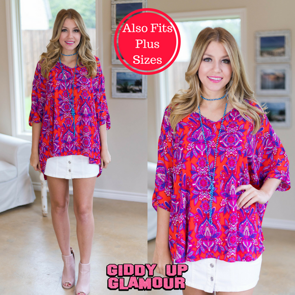 On The Line Paisley Print Oversized Poncho Top in Red