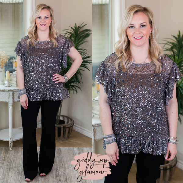 Go For The Bold Sheer Sequin Peplum Top in Grey silver sparkles shiny business casual top