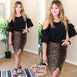 Bold Attitude Wrap Around Bandage Pencil Skirt in Leopard knee length stretchy tight side slit black and tan leopard cheetah