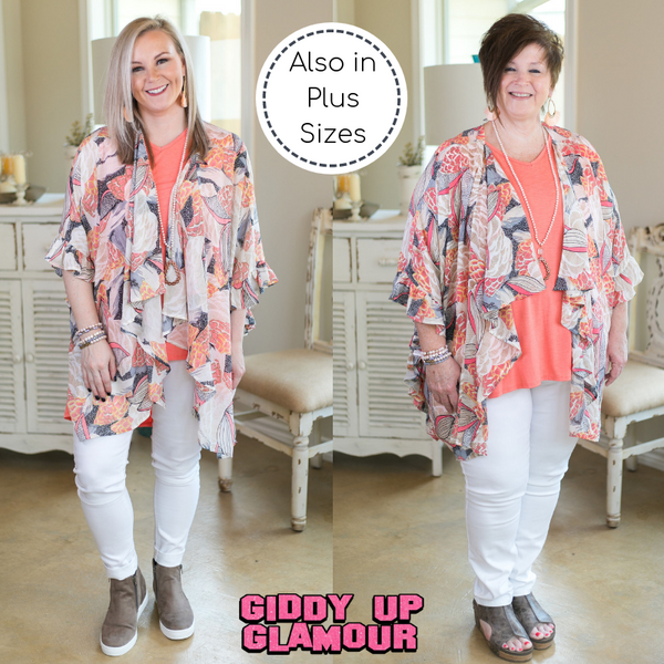 Have It All Floral Print Ruffle Kimono in Coral