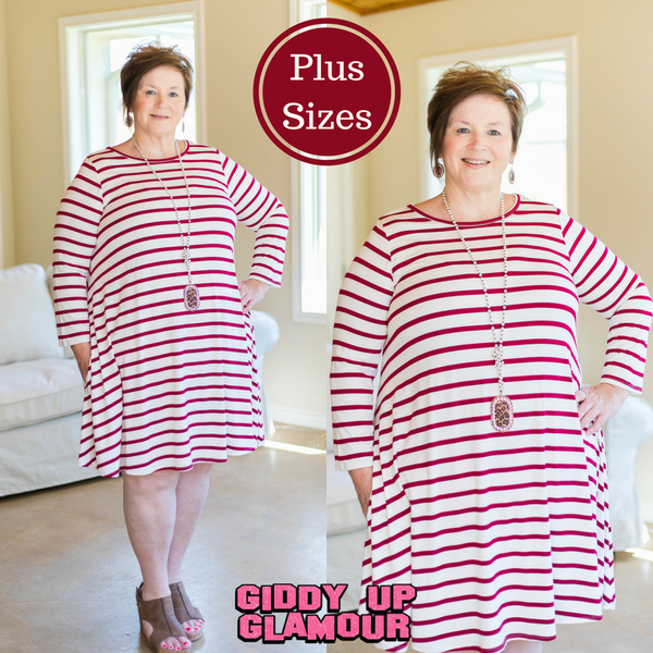 All The Stripe A Line Tunic Dress in Maroon