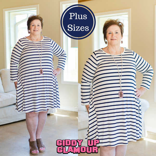 All The Stripe A Line Tunic Dress in Navy