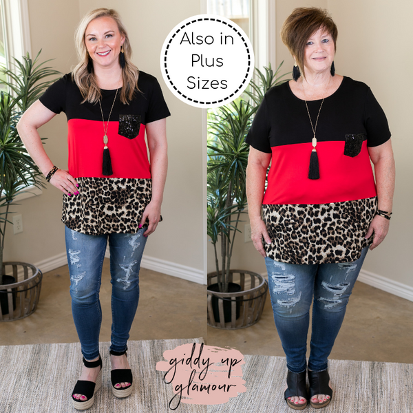 Look At Me Now Leopard Print Color Block Top with Sequin Pocket in Red