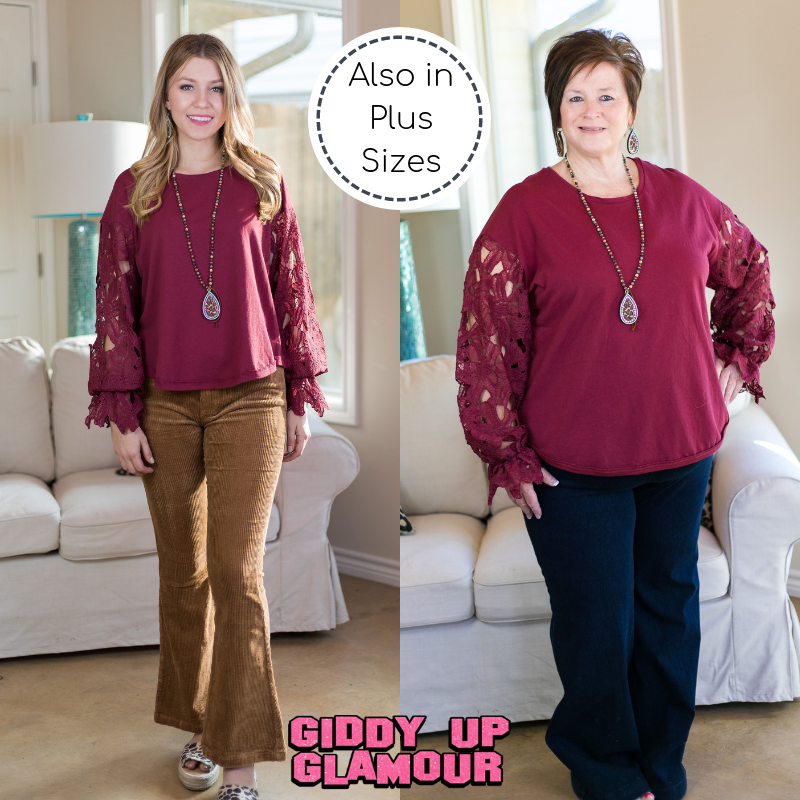 Simple Treasures Top with Floral Lace Sleeves in Maroon