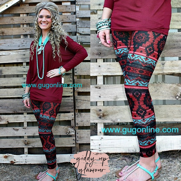 Closeout | Follow Your Arrow Aztec Leggings in Red and Turquoise