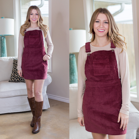 Jump Into Style Corduroy Overall Jumper Dress in Maroon