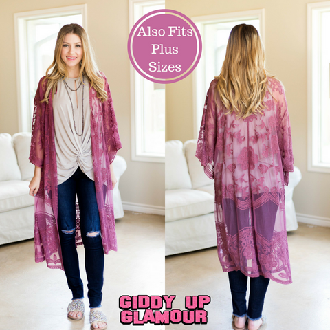 Spring Ahead Crochet Lace Duster in Mauve Pink
