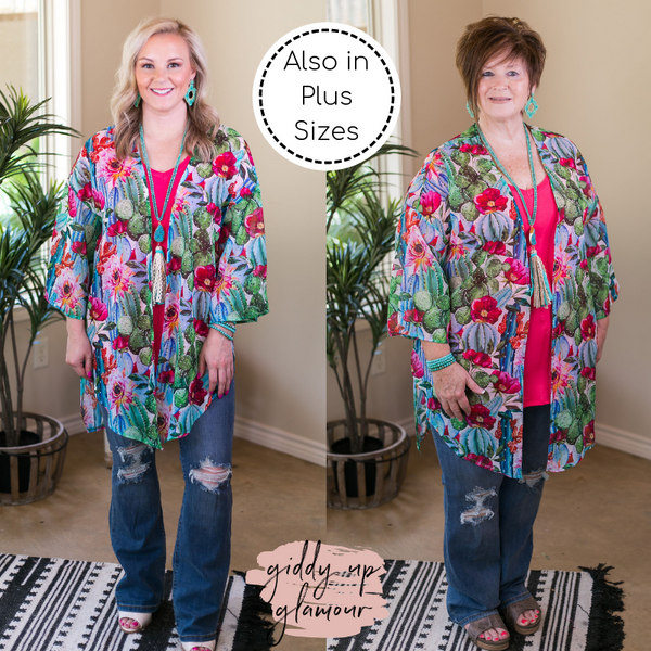 Always on Point Sheer Blooming Cactus Print Kimono in Turquoise