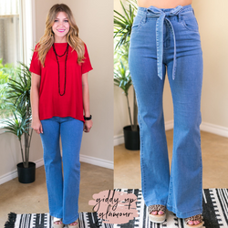 Flying Tomato Handle with flare bell bottom jeans flaire light denim light blue trendy jeans high waist belt bow