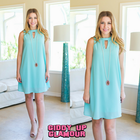 Something's Begun Solid Sleeveless Shift Dress in Mint