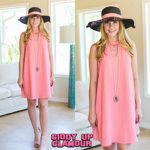 Something's Begun Solid Sleeveless Shift Dress in Coral