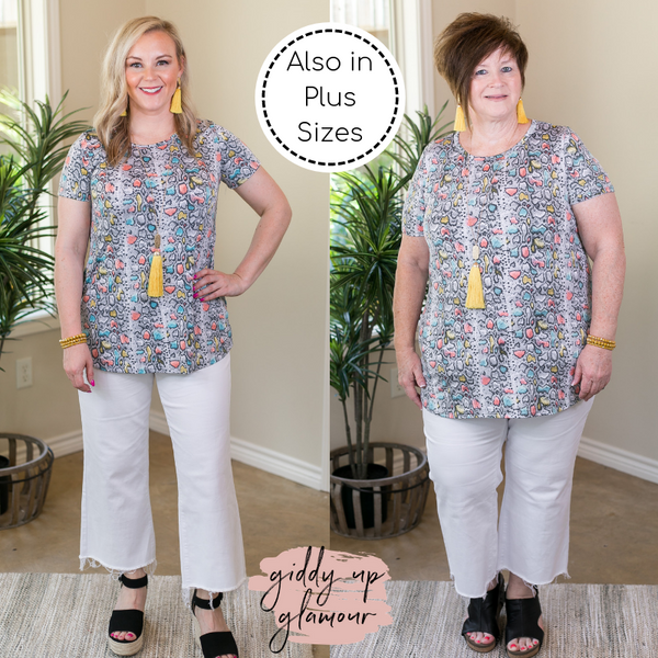 All In Colorful Snakeskin Print Short Sleeve Top in Grey