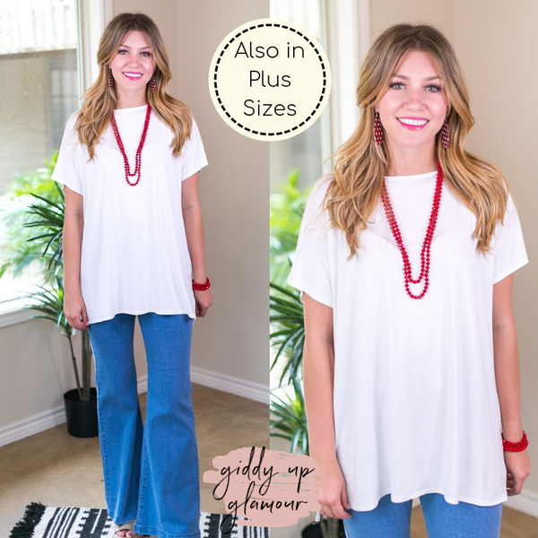 Everyday Basics Drop Sleeve Solid Piko Top in piko top solid basic tee top plus curvy girl fashion missy white