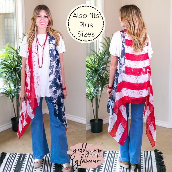 Rocket's Red Glare Vintage Distressed American Flag Vest Boutique trendy clothing patriotic 4th of july sheer vest costume photograph