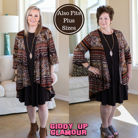 Just One Reason Tribal Print Cardigan in Brown